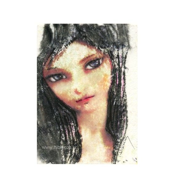 Original ACEO  a dollfaced girl    by hibiscus by seungeun01