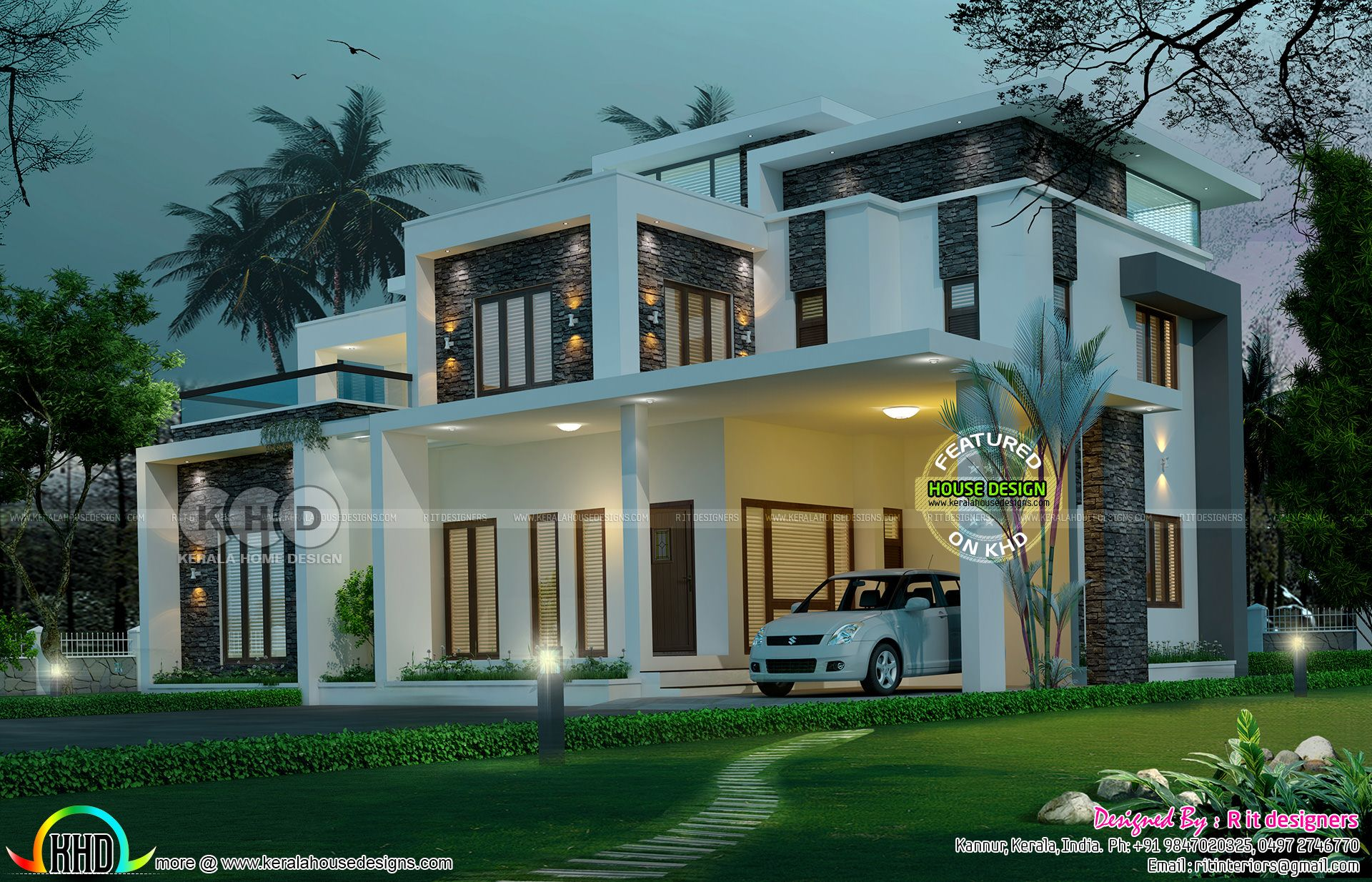 5 bedroom luxurious contemporary model flat roof house