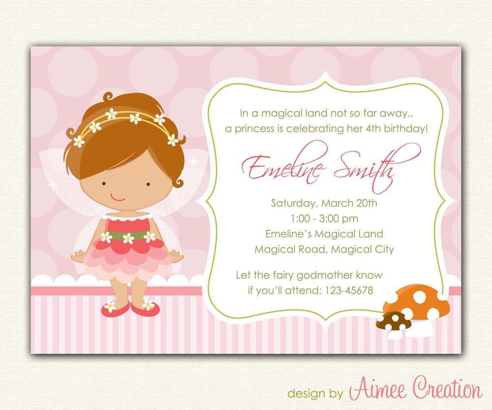 Cute Fairy Princess Birthday Invitation Printable - DIY Party for ...