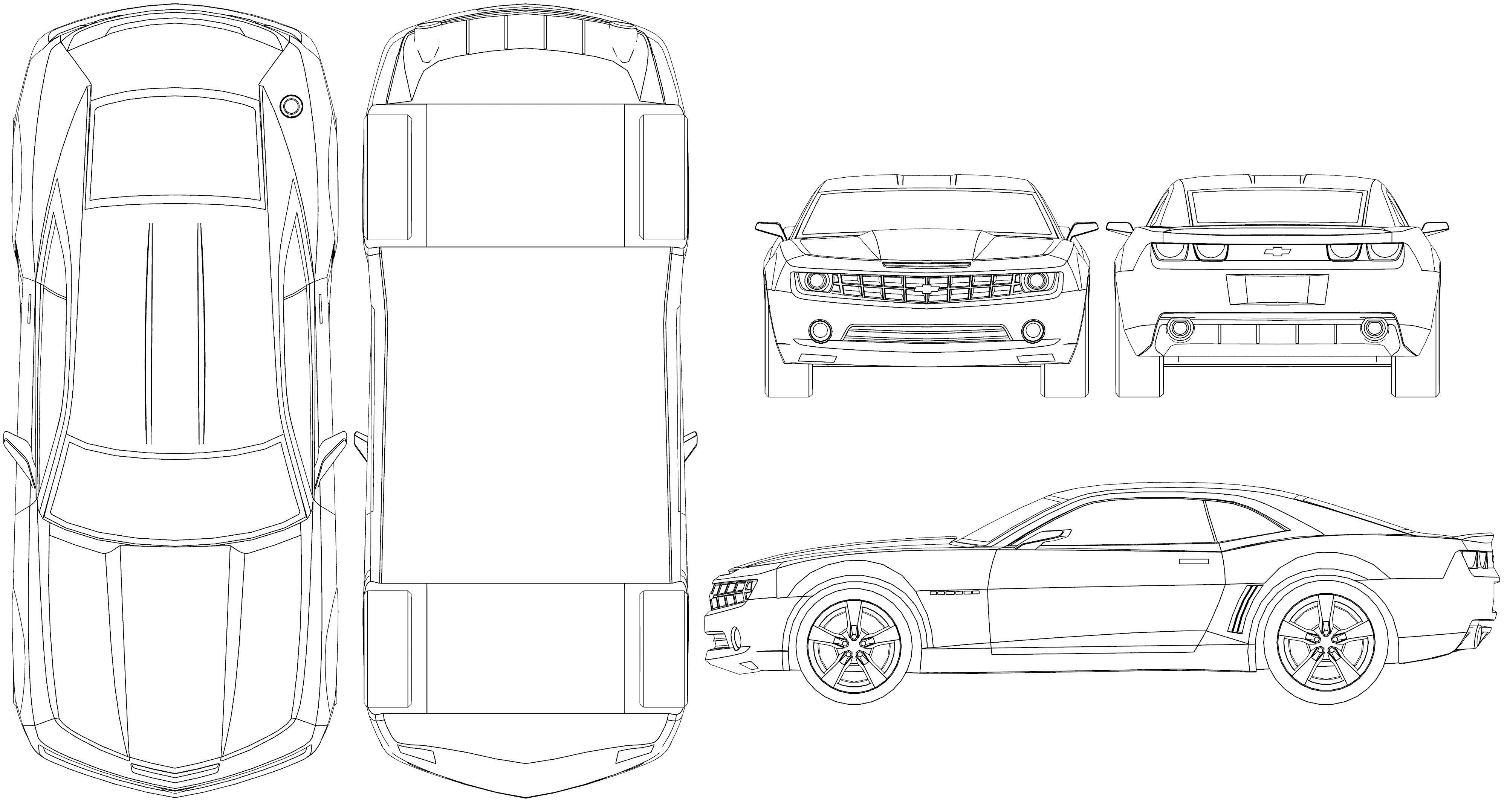 Car Blueprint 自動車 車 戦闘機