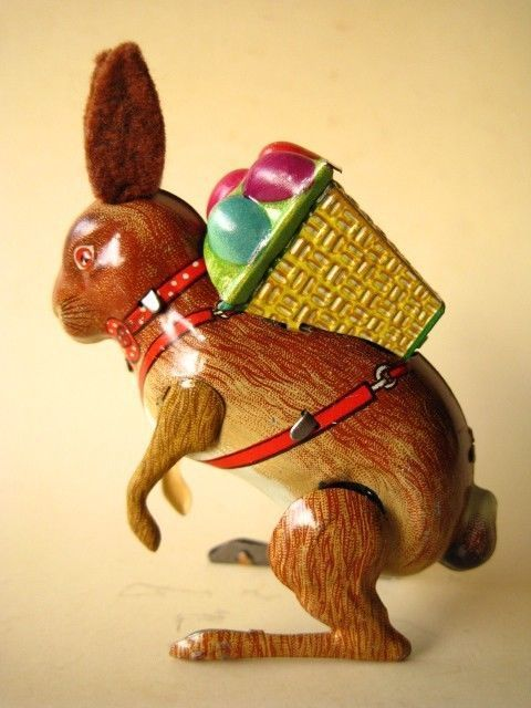 1950s Easter Bunny  candy | TIN EASTER BUNNY HARE CANDY CONTAINER CLOCKWORK TOY US ZONE GERMANY ...