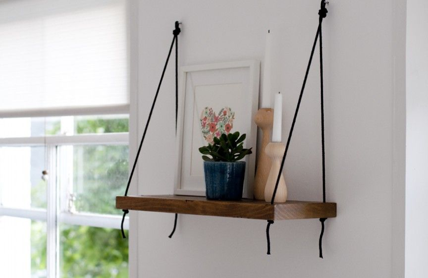 Simple Wooden Shelf Hung With Ropes Diy Hanging Shelves Hanging Bookshelves Hanging Shelves