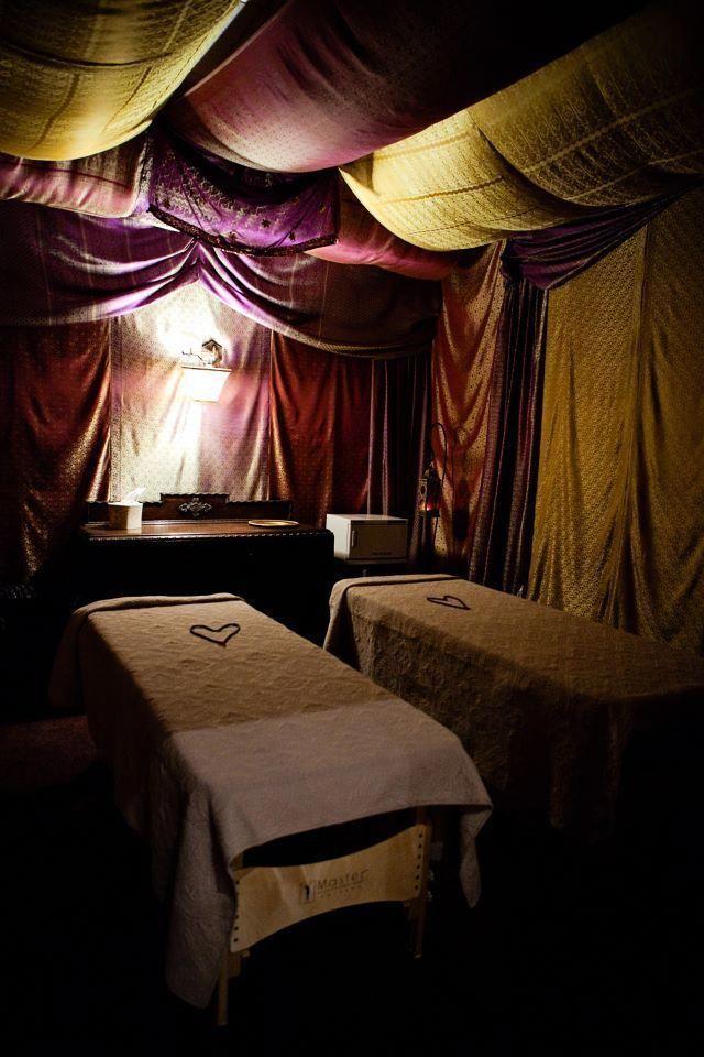 Drape design  Day spa  massage therapy room  couples massage room  esthe  Massage therapy