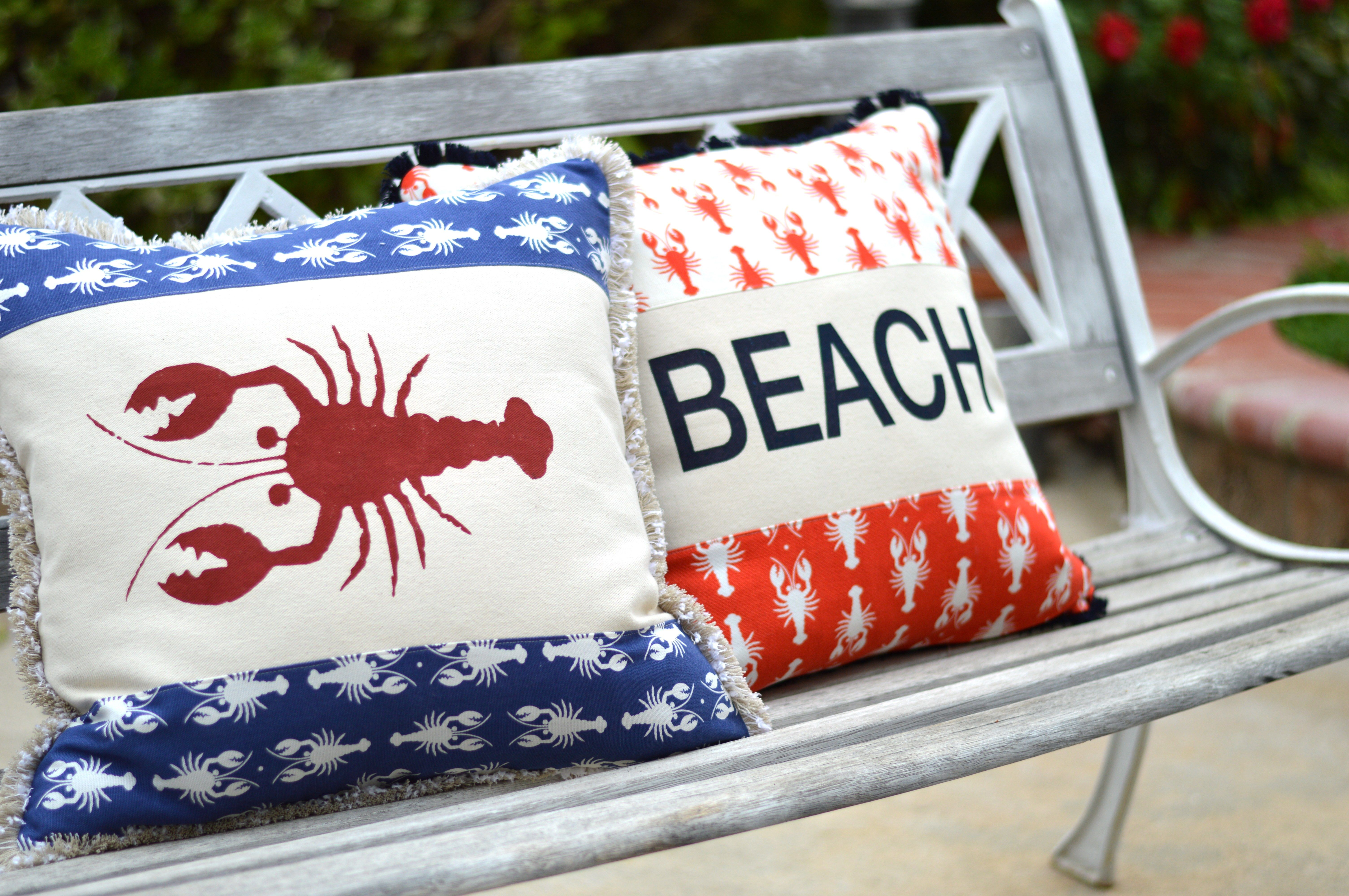 Riley Blake Designs Lobster Pillows Pillows Throw