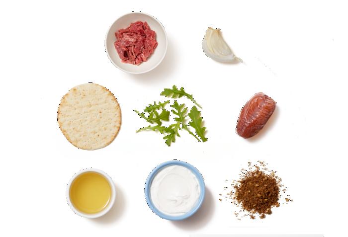 Spiced Beef Pitas & Garlic Labneh with Arugula & Date Salad ingredients