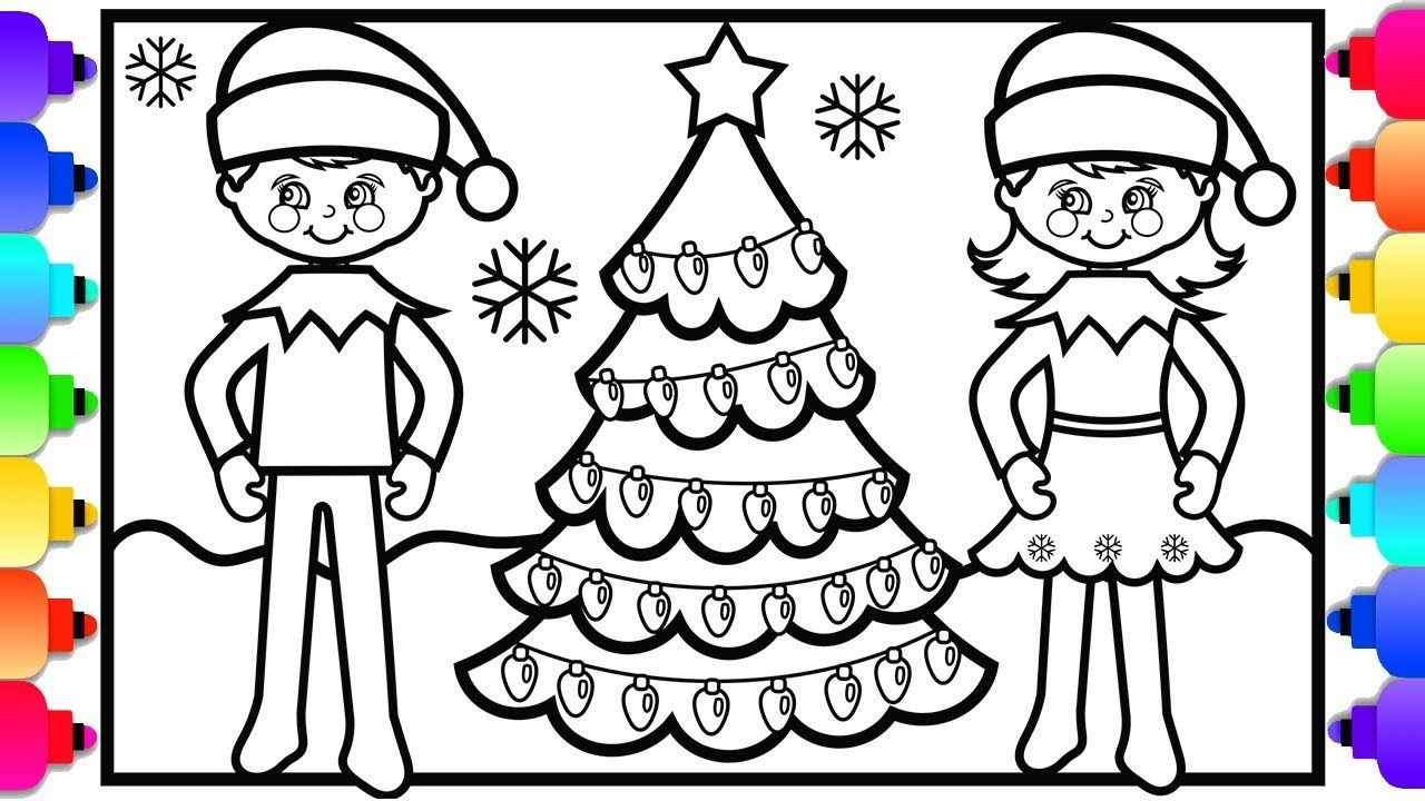 Visit Rainbowplayhouse Com To Print This Coloring Page How To Draw A Girl Elf On The Shelf And A Boy Elf On T Christmas Coloring Pages Coloring Pages Girl Elf