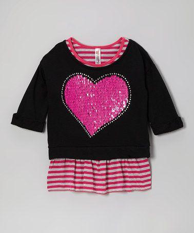 Another great find on #zulily! Pink Stripe Tank & Black Heart Crop Top #zulilyfinds
