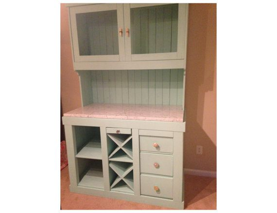 Southern Handcrafted Marble-Topped Solid Wood Bar Hutch