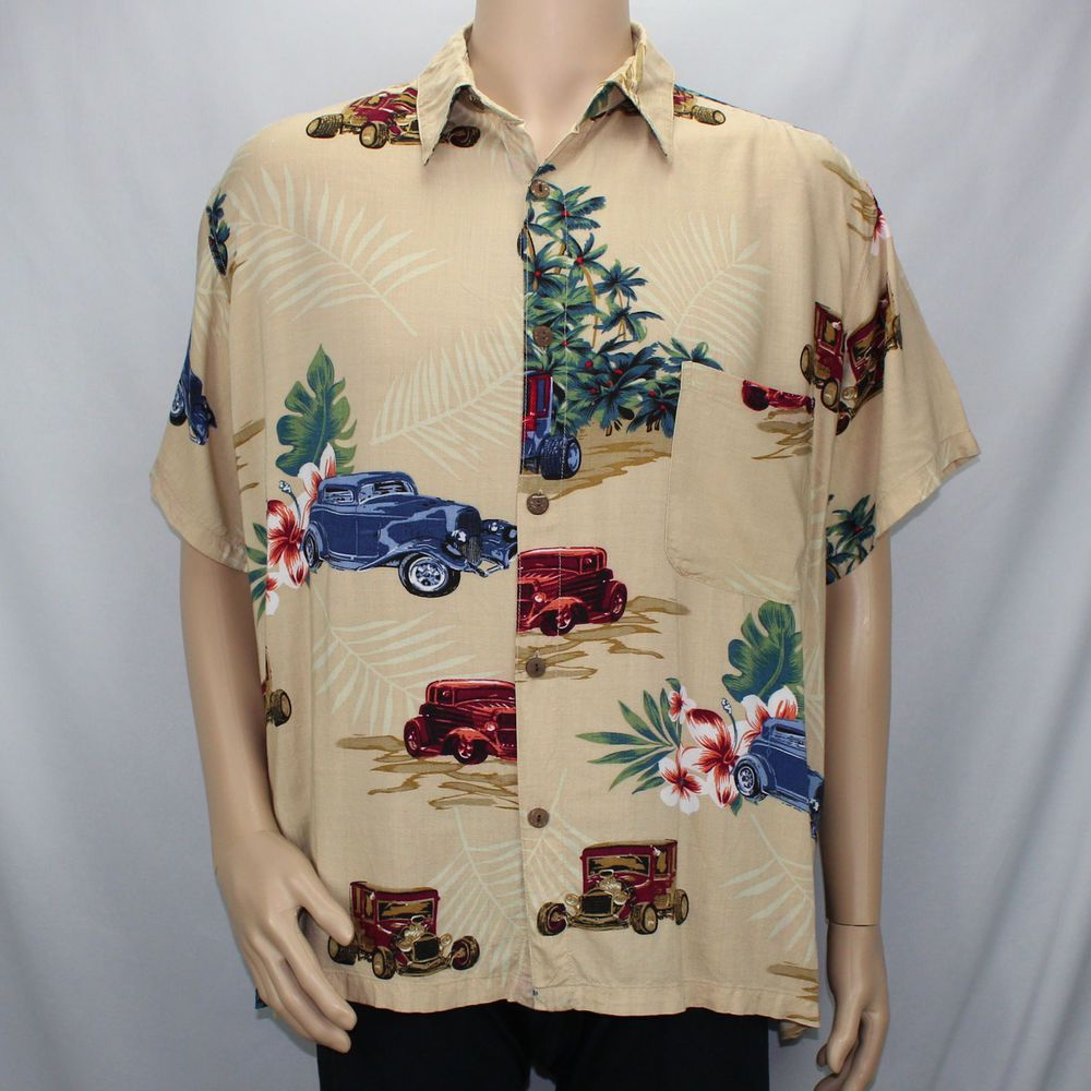 Blue Sky Large Short Sleeve Camp Shirt Tan Classic Cars Flowers Pocket #BlueSky …