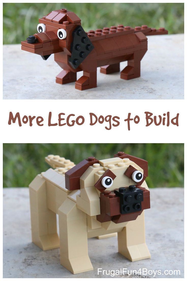 More LEGO Dogs to Build! Building instructions for a dachshund and a mastiff.