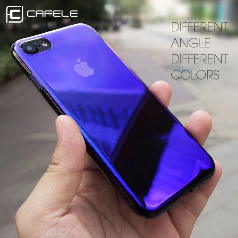 Cafele originalità per il caso di iphone 7 lusso aurora sfumatura di colore custodia trasparente per iphone 7 plus luce dura del pc della copertura casi