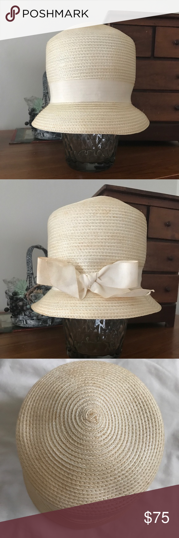 f2589fc08f0 Vintage Union Hatter Bucket Hat Beautiful Cream Colored Straw 1940 s  Vintage Union Hatter Bucket Hat with