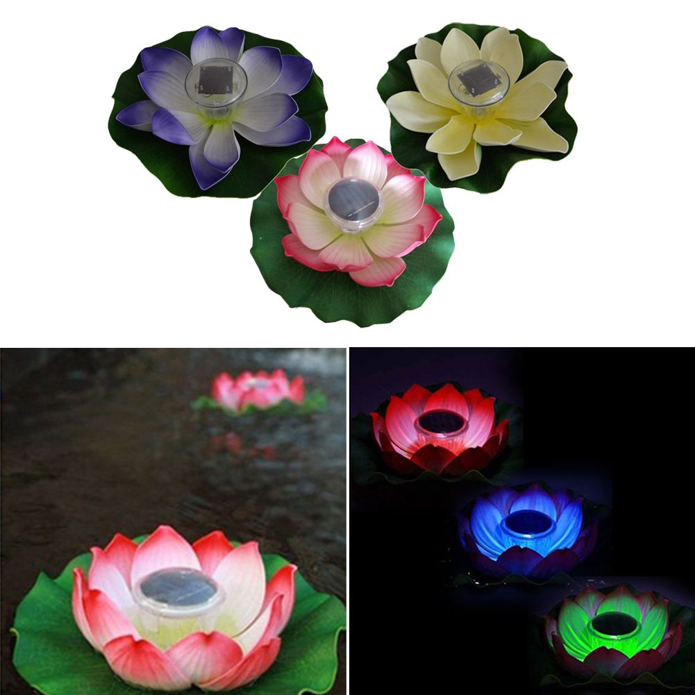 Garden landscape night  Solar Power LED Light Garden Floating Lotus Shape Night Light Flower