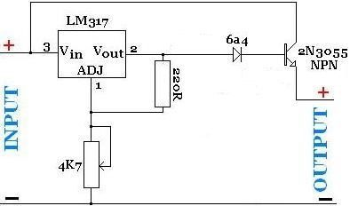 Hight current power supply with LM317T and an NPN power
