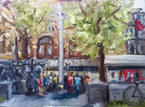 Amsterdam Rembrandt Square plein air painting by NancyvandenBoom, €165.00