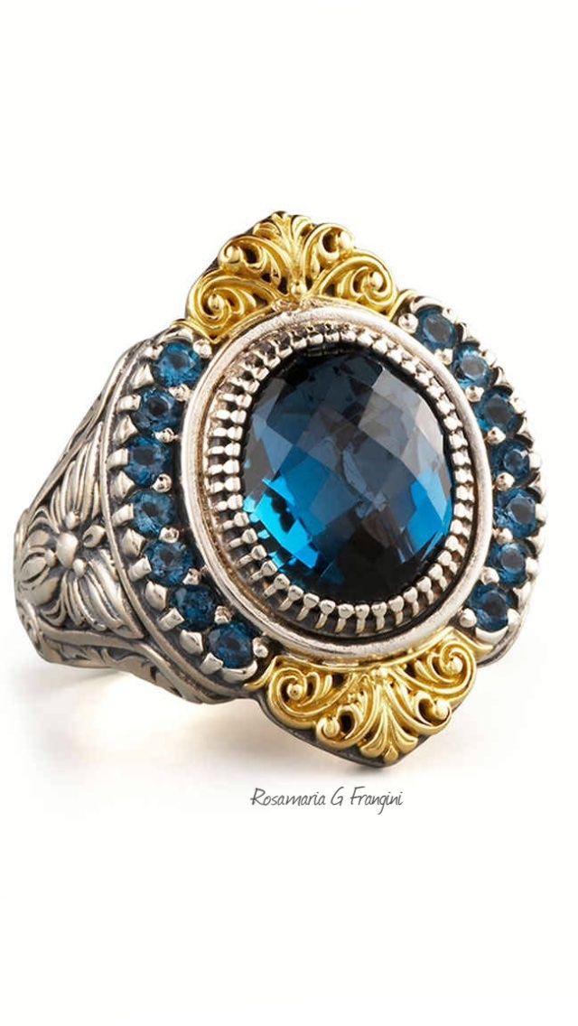 Konstantino Pave London Blue Topaz Ring TkvAljC
