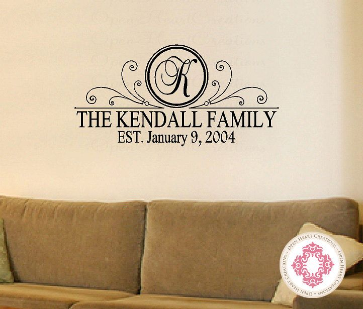 Personalized family name vinyl wall decal with initial name and date established 18h x 36w pd0031