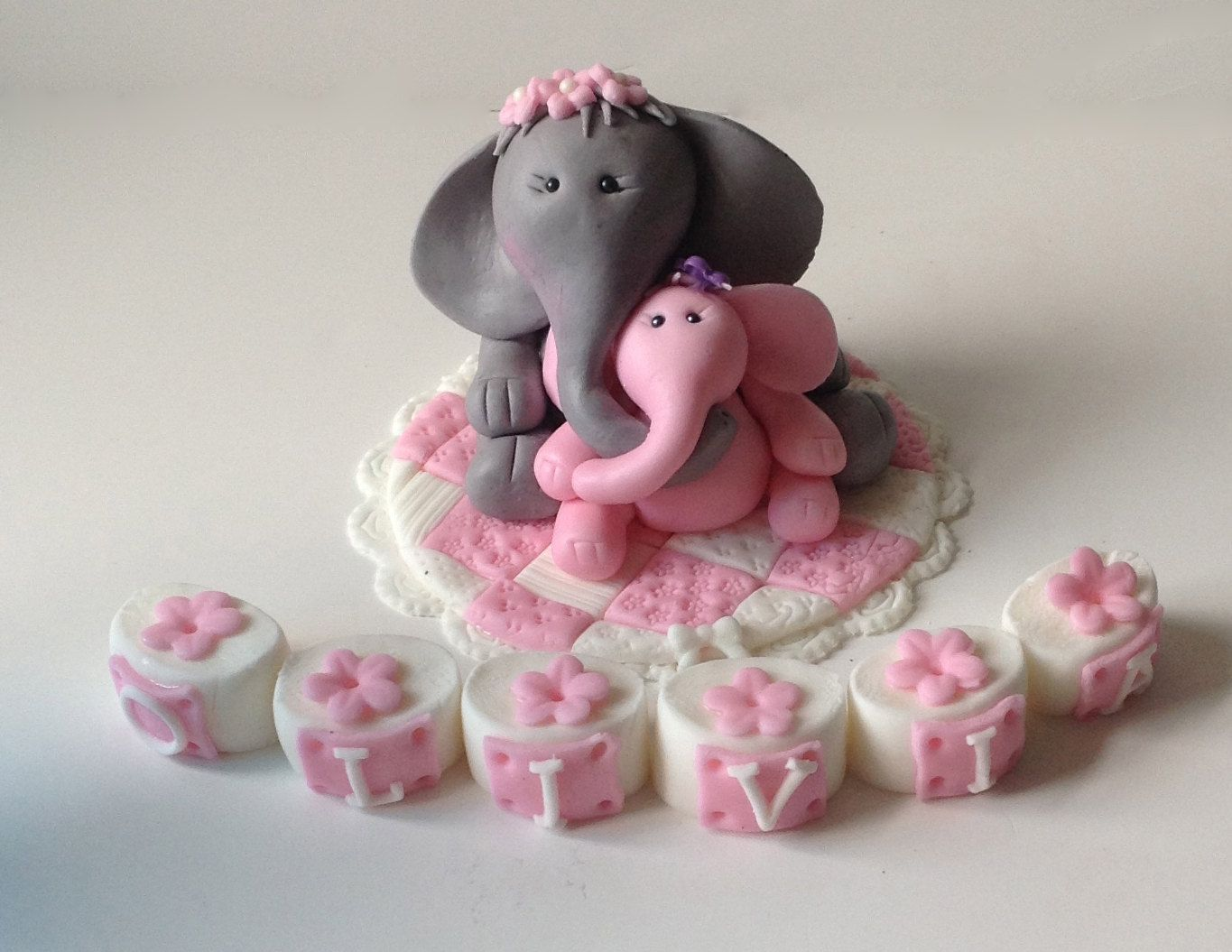ELEPHANT BABY SHOWER Cake Topper Safari Nursery Pink And Grey Gray Elephant  Invitations Mama And Baby Elephant Alphabet Blocks Baby Quilt