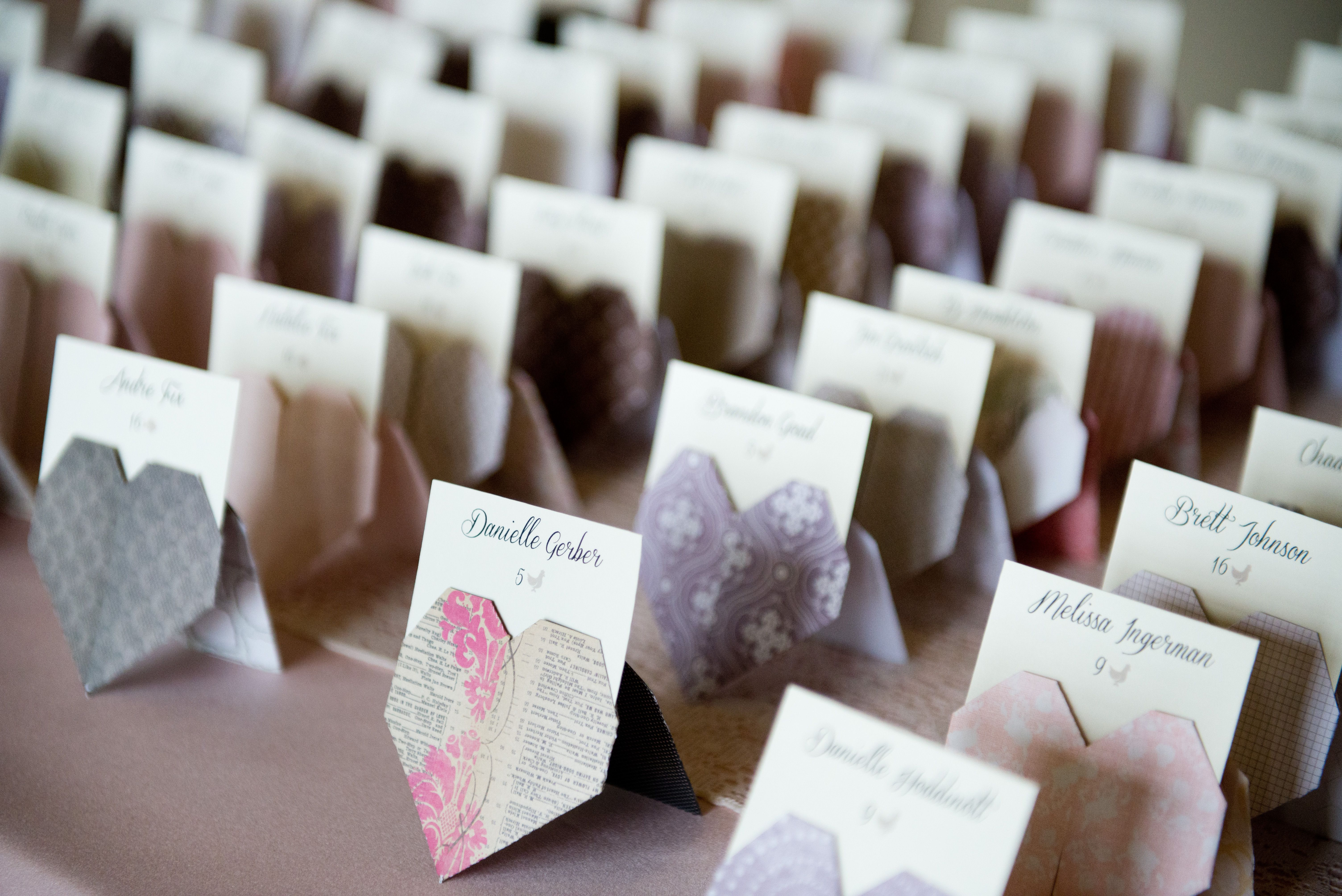 DIY Origami Heart Escort Cards - instead of using for escort cards, use for food labels