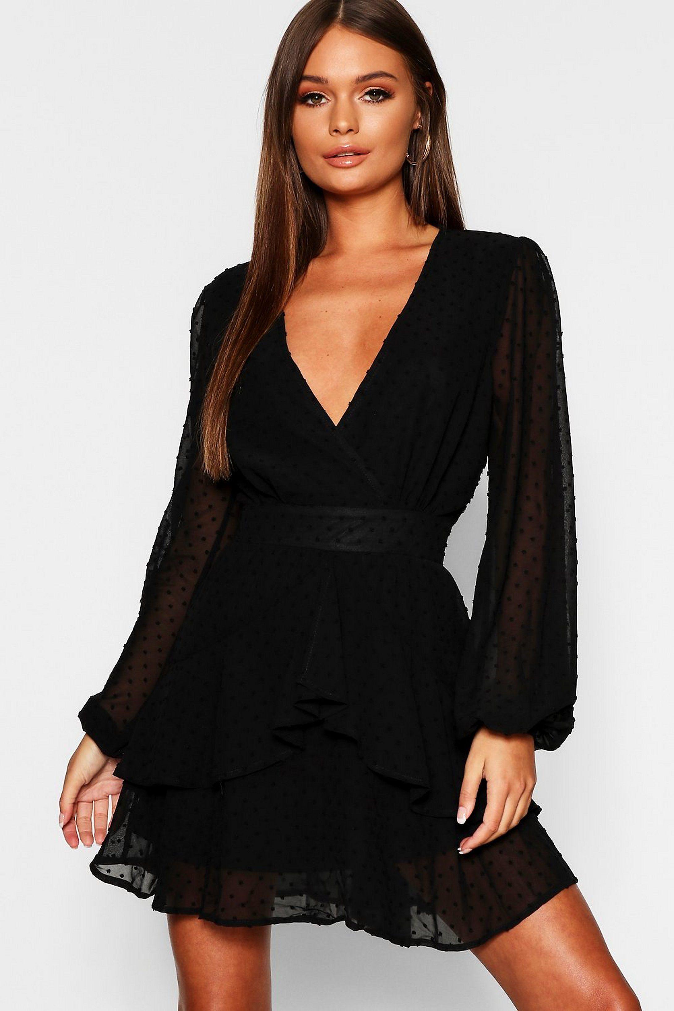 Ruffle Hem Dobby Chiffon Mini Dress Boohoo Mini Dress Long Sleeve Cocktail Dress Mini Black Dress [ 3272 x 2181 Pixel ]