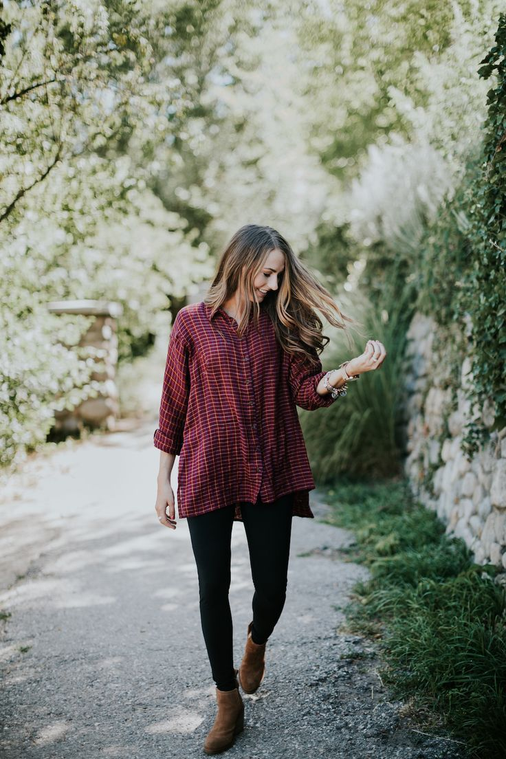 Fall uniform! Oversized flannel, leggings, and booties! What is more perfect?