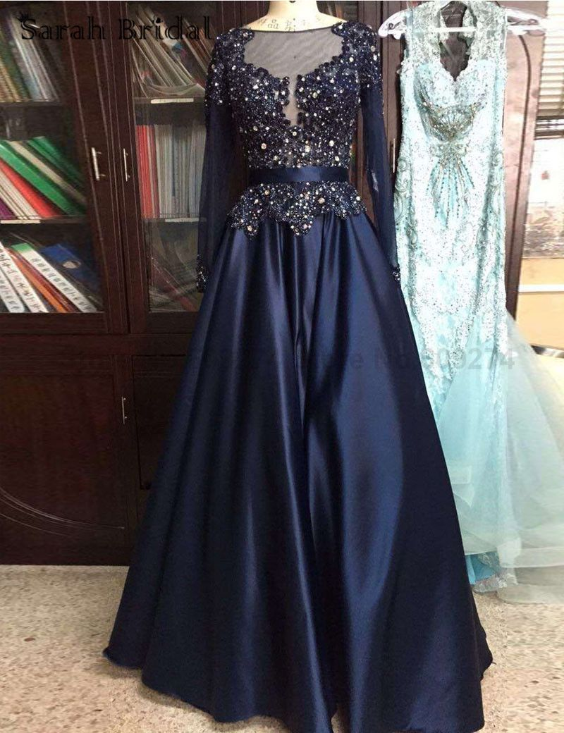 High Quality Crystal Long Prom Dresses Long Sleeves Plus Size Formal