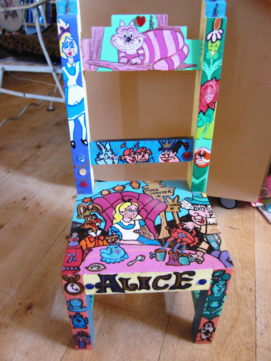 alice in wonderland inspired furniture. Handpainted Childrens Chair Embellished With Stones \u0026 Rabbits INSPIRED By Alice In Wonderland. Wonderland Inspired Furniture O