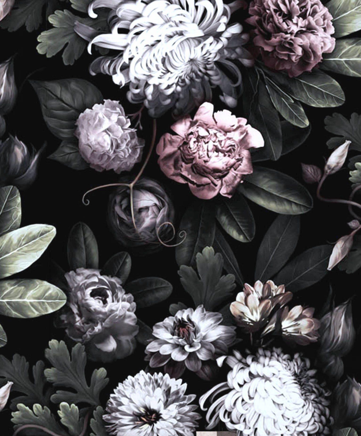 Dark Floral Wallpaper, floral wallpaper, dark flowers