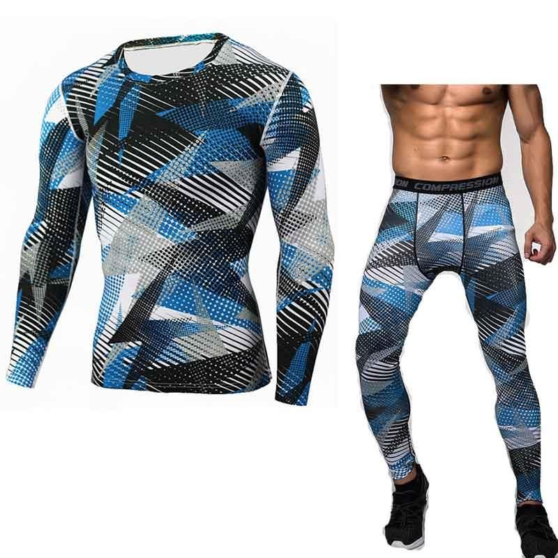Men/'s Camo Compression Quick Drying Jersey Shirt Leggings Fitness Pants  Sets