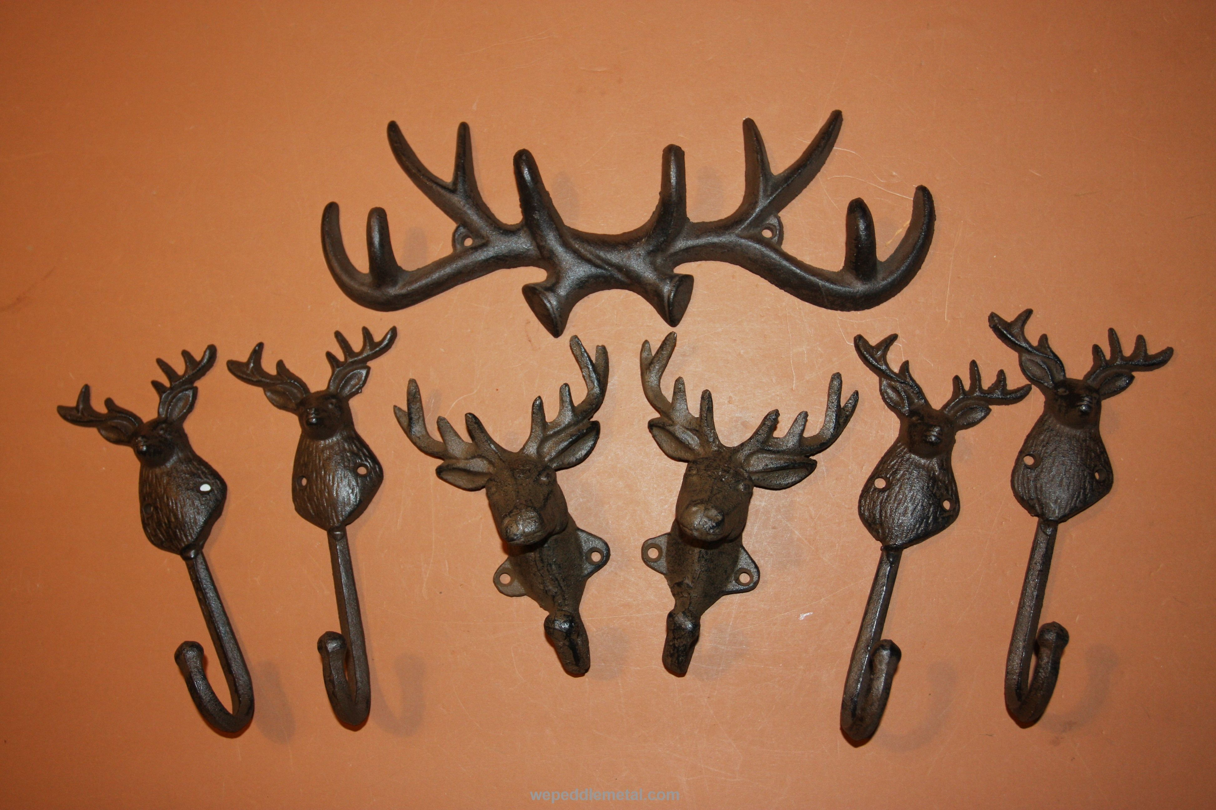 Cast iron Antler Wall Hook Rack Rustic Cabin Lodge Home Decor