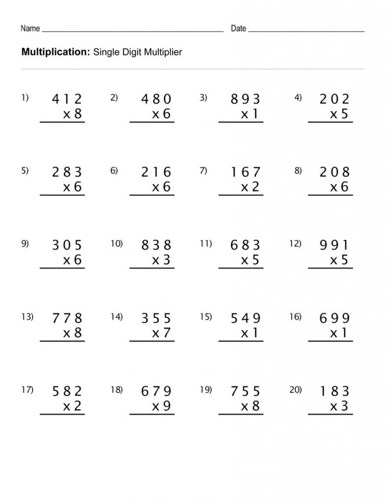 3 Digit Multiplication Worksheet Printable