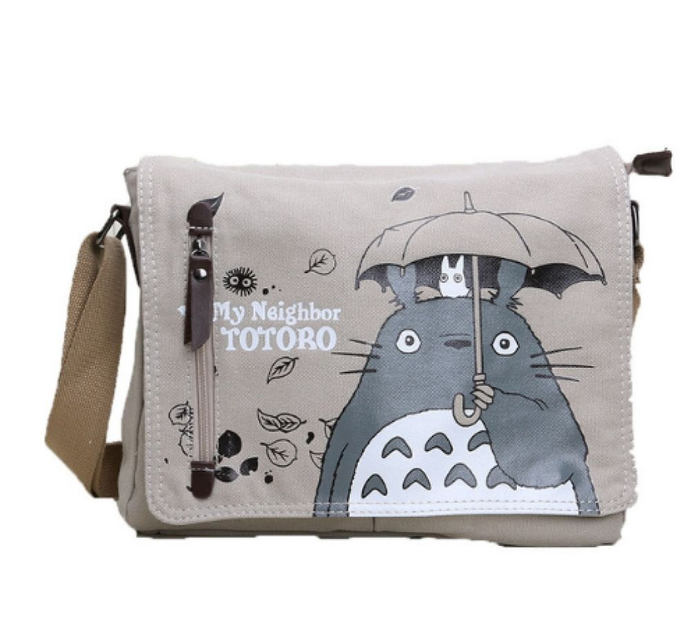 Anime totoro canvas messenger bag in 2020 canvas