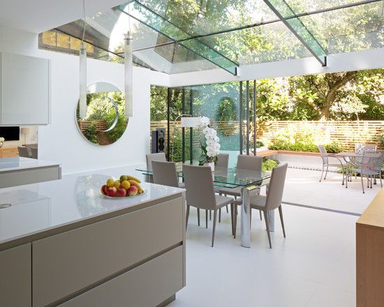 Captivating Contemporary Kitchen With Adorable Glass Roof Extensions Also Modern Door Design Gray