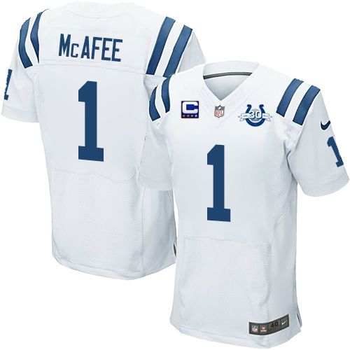 (Elite Nike Men s Pat McAfee White C Patch Jersey) Indianapolis Colts Road  1  NFL 30th Seasons Patch Easy ... ab5930d78