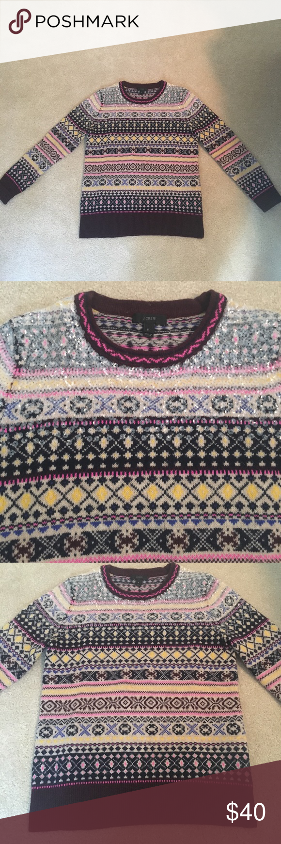 J. Crew Sequined Fair Isle sweater EUC - beautiful sweater with clear sequins on shoulders and Fair Isle pattern. Only worn a few times.  Maroons, pinks, yellows. J. Crew Sweaters Crew & Scoop Necks