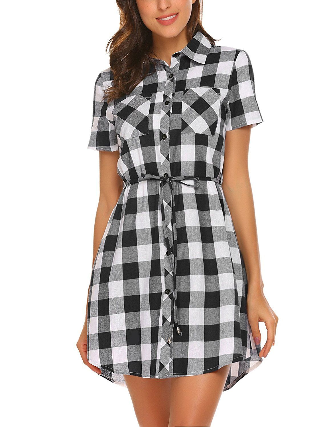 bed032aa960 Hotouch Women Flannel Short Sleeve Belted Button Down Plaid Tunic Shirt  Dress