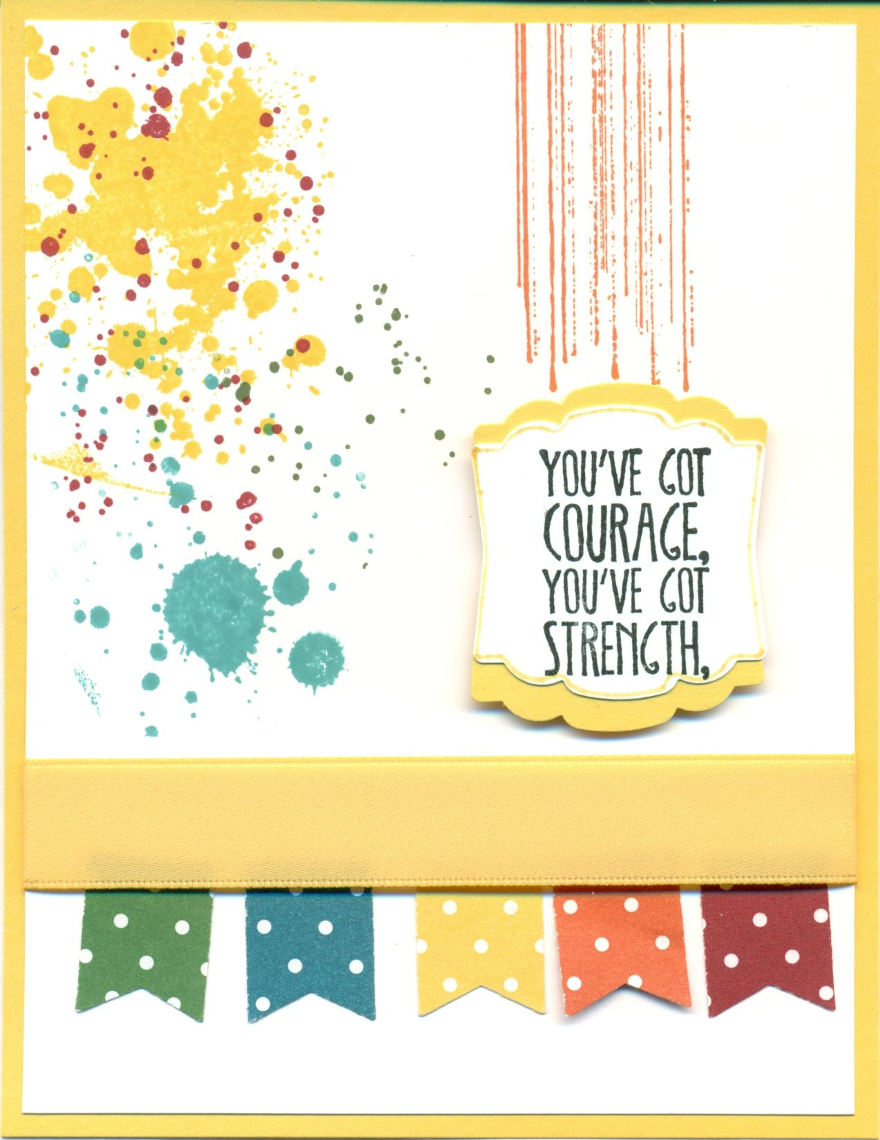 cased from Melissa Stout. Gorgeous Grunge, Something to Say (new).  Banner Punch, Daffodil Delight ribbon, colors: garden green, Bermuda bay, tangerine tango, cherry cobbler.