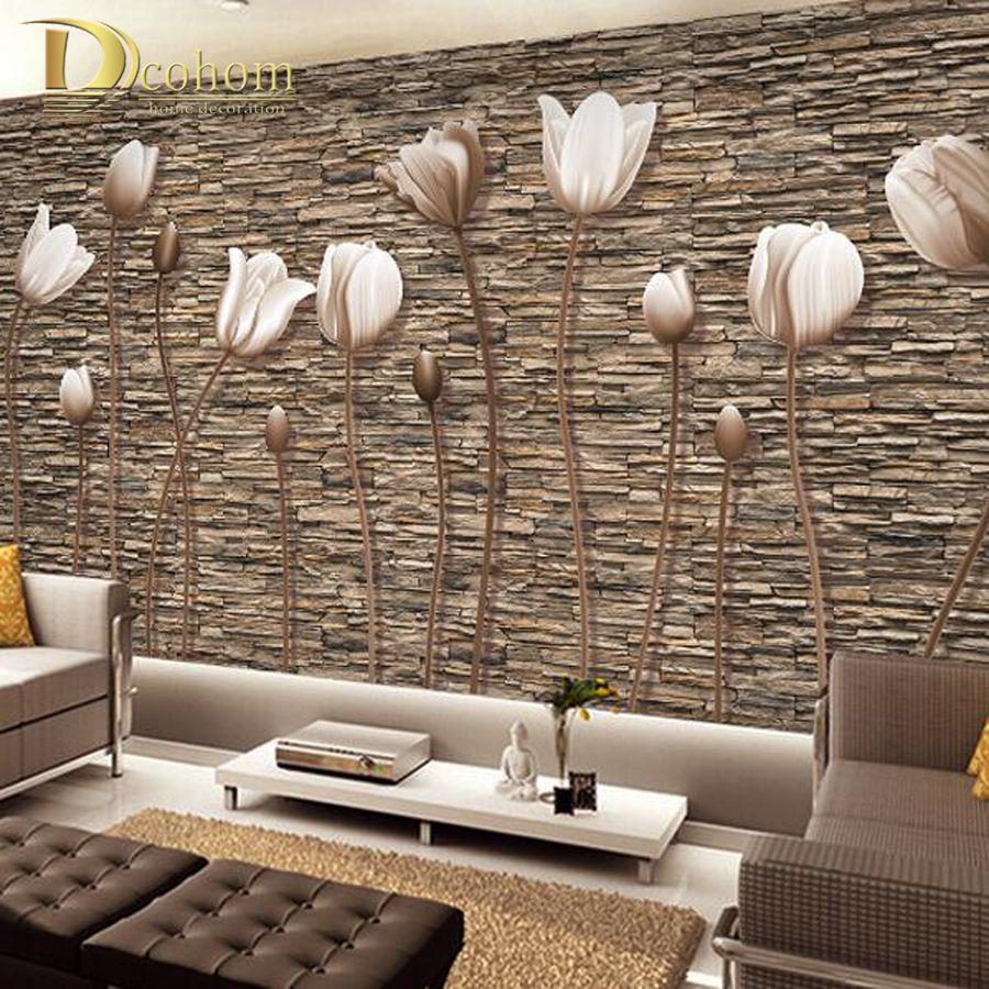 Large 3d wall murals photo wallpaper flower for living for 3d brown wallpaper