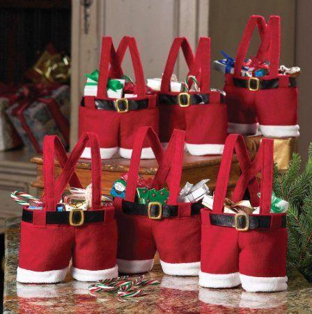Amazon.com - Collections Etc - Santa Pants Gift And Treat Bags - Christmas Stockings