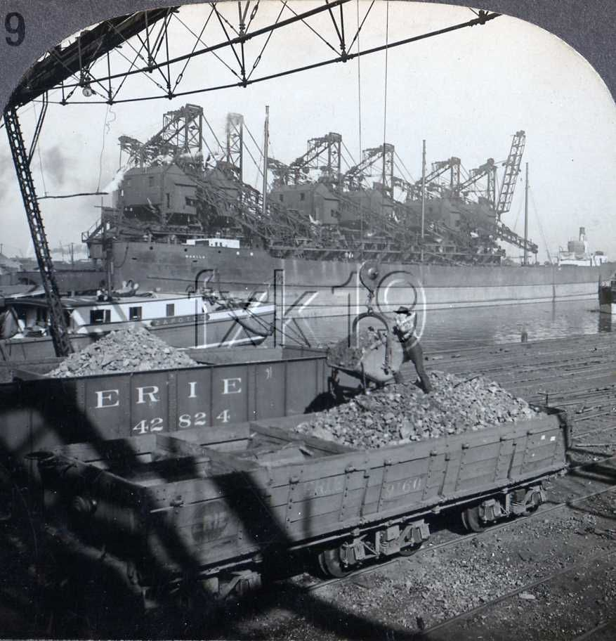 Cleveland Ohio Unloading Iron Ore Into Erie Railroad Train Cars Train Pictures Train Posters Model Train Layouts