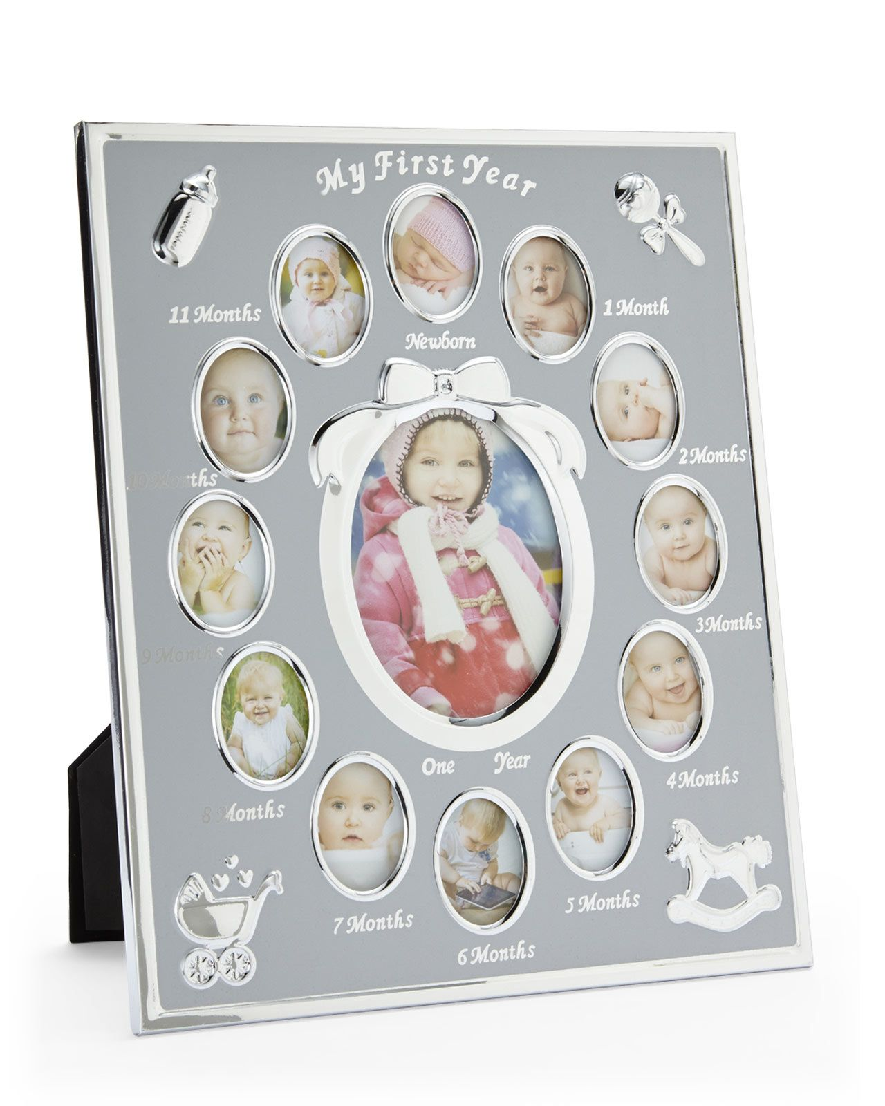 TINY IDEAS Silver-Tone My First Year Collage Frame | Photo Frames ...