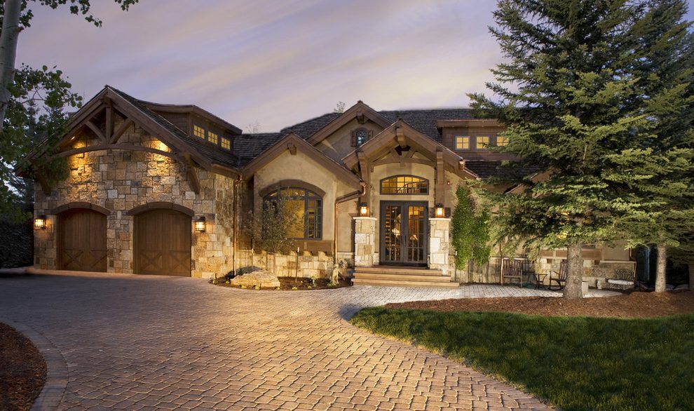 Wood Mountain Elevation : Stucco stone front elevation rustic united states with