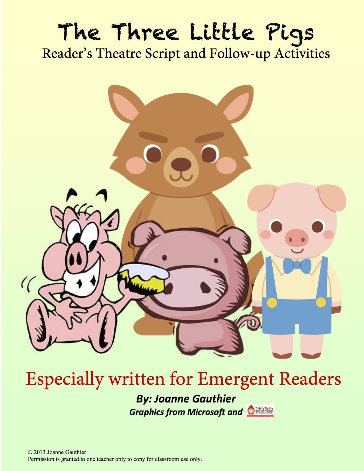 Three Little Pigs Readers Theater For Emergent Readers