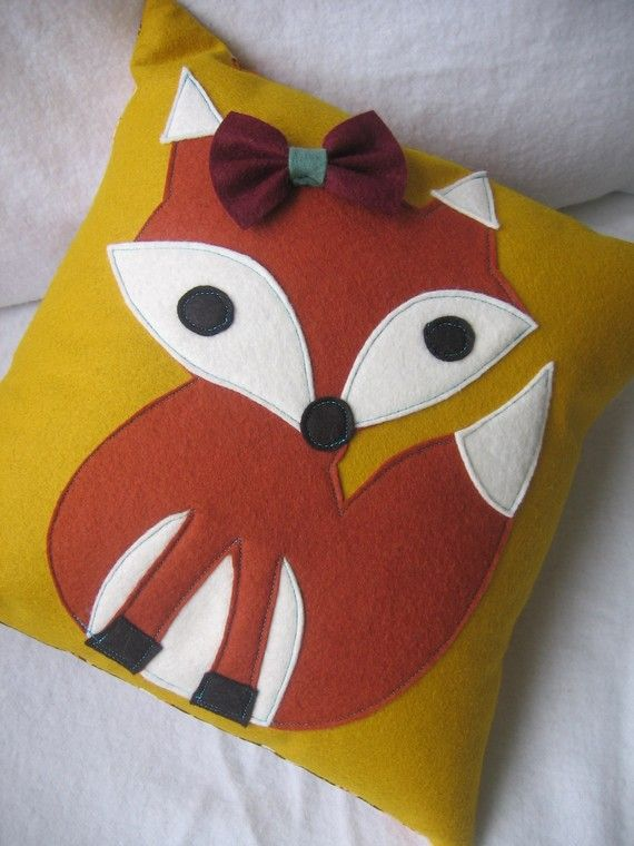 Fox pillow for little ones room. Cute but I think I would make it without the bow and legs ...