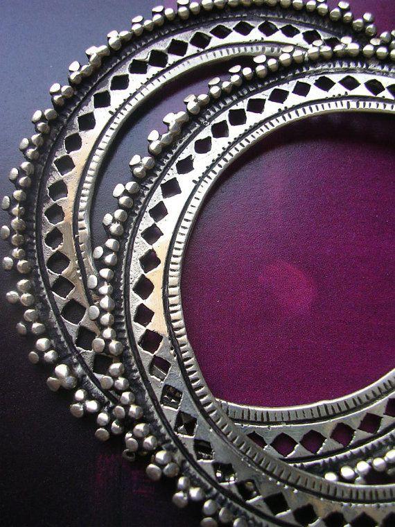 SAW HOOP EARRINGS tribal style ethnic sterling kuchi hoop hand ctafted silver