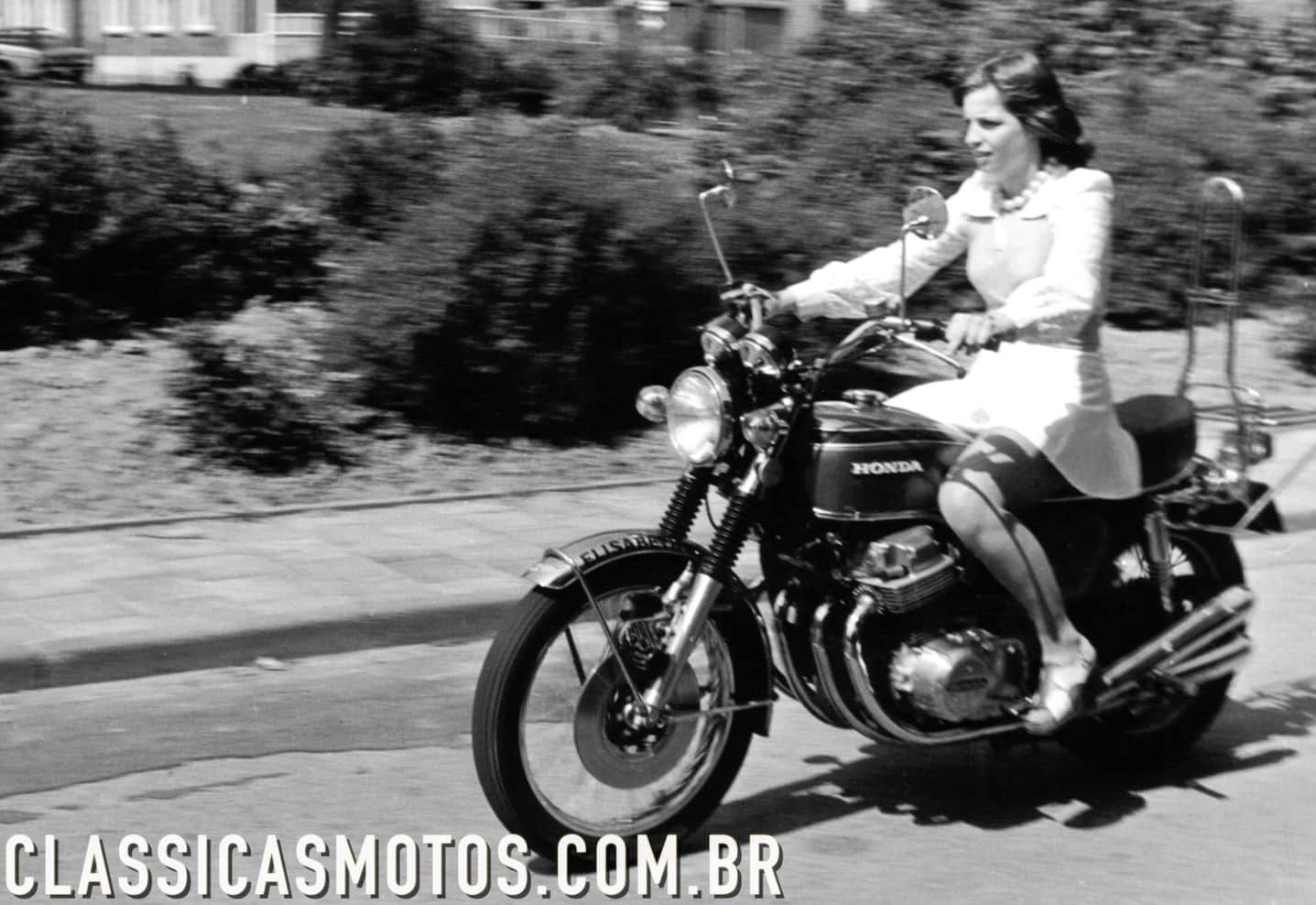 Old Times Girl Riding A Honda Cb 750 Four Without A