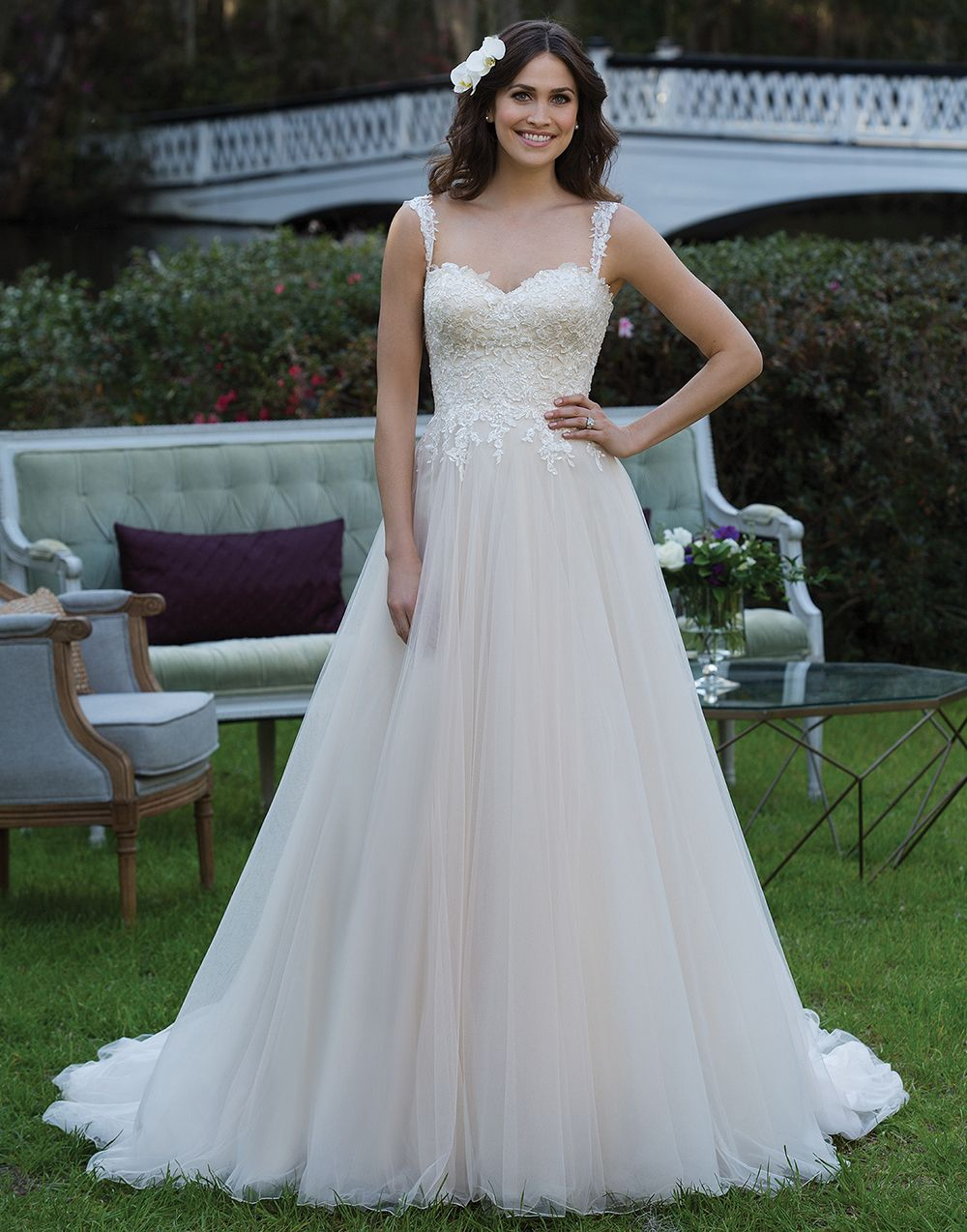 Sincerity wedding dress style 3939 A sequined embroidered lace ...