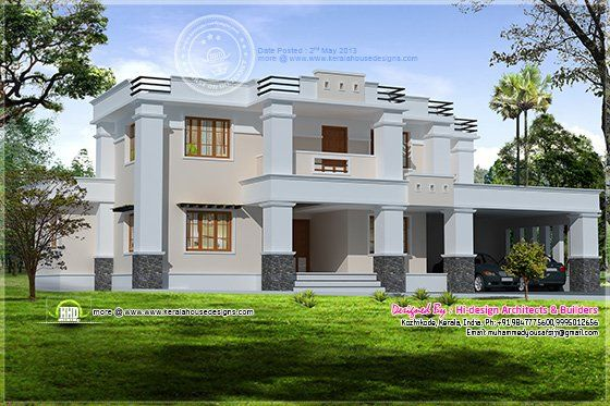 Flat Roof Homes Designs | Square Roof Home Elevation In 2400 Sq.feet    Kerala Part 51