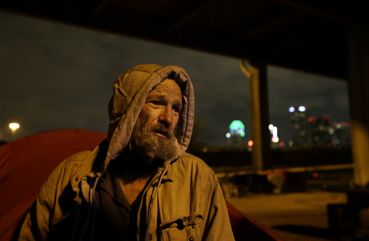 James Martin Stands By His Tent As Volunteers Conduct A Late Night Count Of Homeless People Near Downtown Dallas The Homeless Downtown Dallas Homeless People