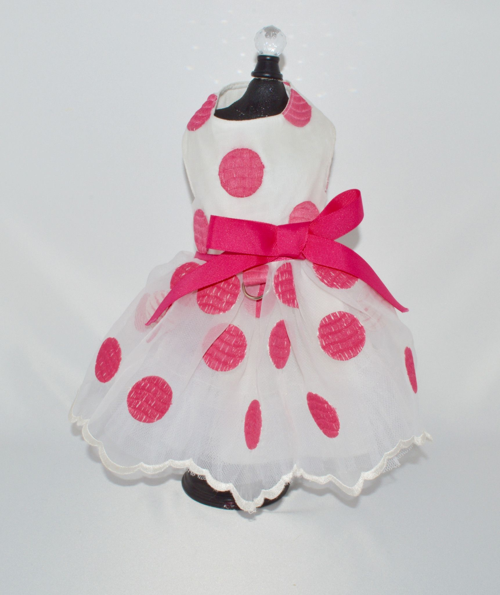 0d47b620b9e Bella s White and Hot Pink Polka Dot Harness Dog Dress –  SpoiledDogDesigns.com - Palm Springs